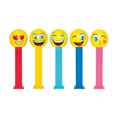 Emoji Pez Dispenser on Blister Card Packaging with 3 Rolls of Candy Refills (Happy Emoji with Yellow Stem) ()