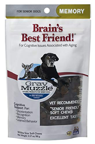 Ark Naturals Gray Muzzle Brain's Best Friend Vet Recommended Soft Chews for Cognitive Issues Associated with Aging, 90 Count Bag