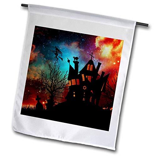 3dRose Sandy Mertens Halloween Designs - Witch House, Black Cat, Weird Starry Sky, Graveyard, 3drsmm - 18 x 27 inch Garden Flag (fl_290237_2)