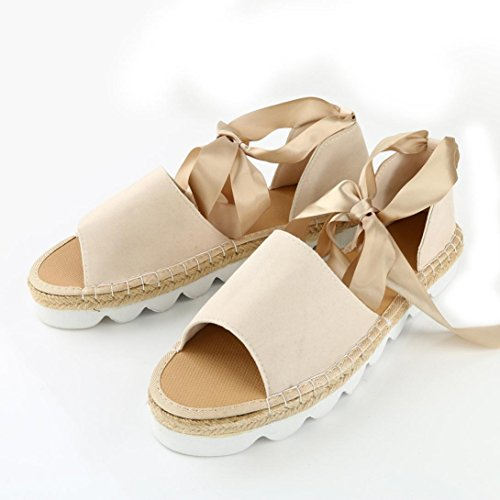 Transer® Ladies Lace Up Flat Sandals- Women Thick Heel Sandals Summer Comfortable Shoes Beige yaRAudhAxz