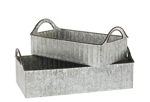 Set of 2 Rectangular Metal Bucket Planter Trays (Silver)