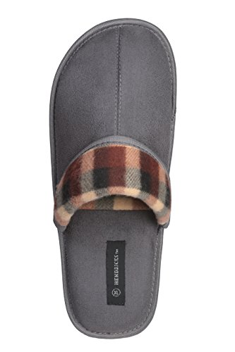 Roxoni Men's Faux Suede Scuff with Plaid Trim Slipper Classic Style with Ultra Soft Comfort Fabric by Roxoni (Image #2)