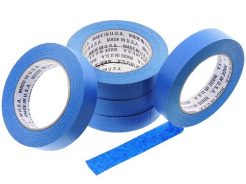 5 Rolls Premium 1'' in x 60 yd USA PRO Grade Professional Blue Painters Tape Masking Trim Edge Quick Clean Release Easy Removal NO RESIDUE (24MM x 55M .94 inch) by MadeInUsa (Image #1)