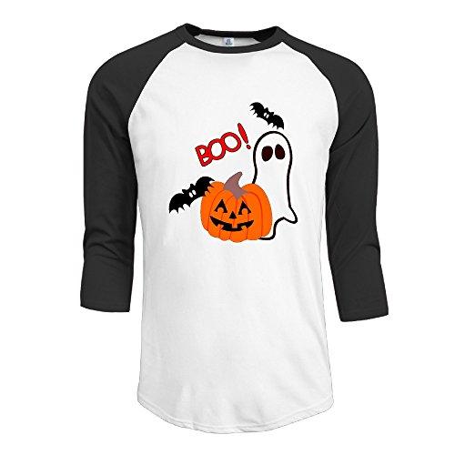 LOYRA Men's 3/4 Sleeve Halloween Boo Basketball Tee Black XXL