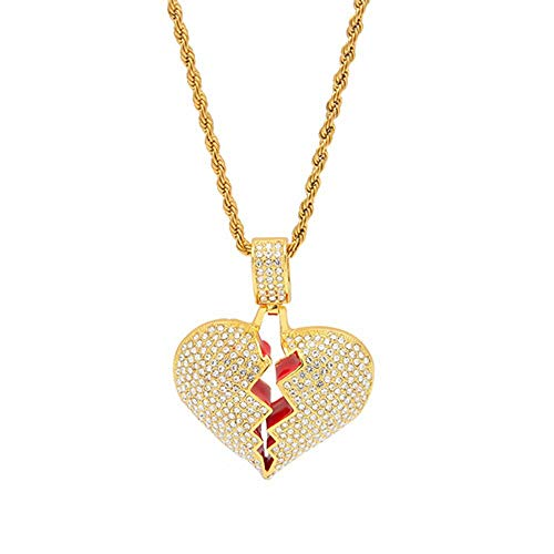 f3a2742904d4c HongBoom Hip Hop Rapper 14K Gold Plated CZ Fully Iced-Out Alloy Broken  Heart Pendant (Gold)