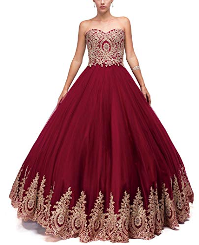 LMBRIDAL Women's Appliqued Quinceanera Dress Sweetheart Prom Ball Gown Long Burgundy B 16