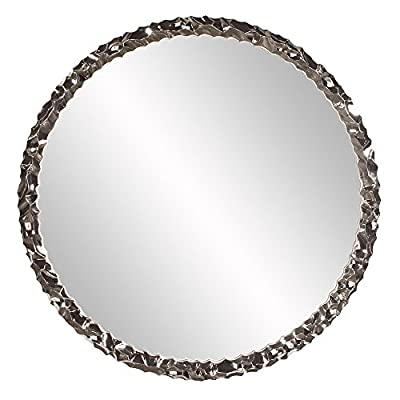 Howard Elliot Memphis Mirror, Glossy White - Our Memphis Mirror features a round textured frame and is finished with a bright nickel plate applied with an electrostatic technique Made of resin D-rings are affixed to the back of the mirror - bathroom-mirrors, bathroom-accessories, bathroom - 41I23GLYUDL. SS400  -