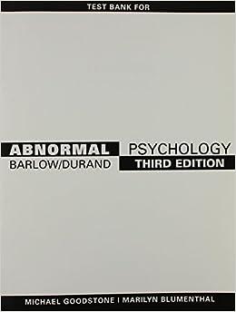 ABNORMAL PSYCHOLOGY TEST BANK: BARLOW: 9780534581527: Amazon com: Books