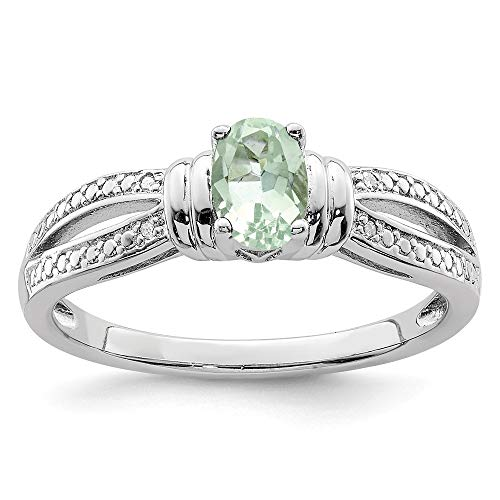925 Sterling Silver Green Quartz Diamond Band Ring Size 6.00 Gemstone Fine Jewelry Gifts For Women For Her
