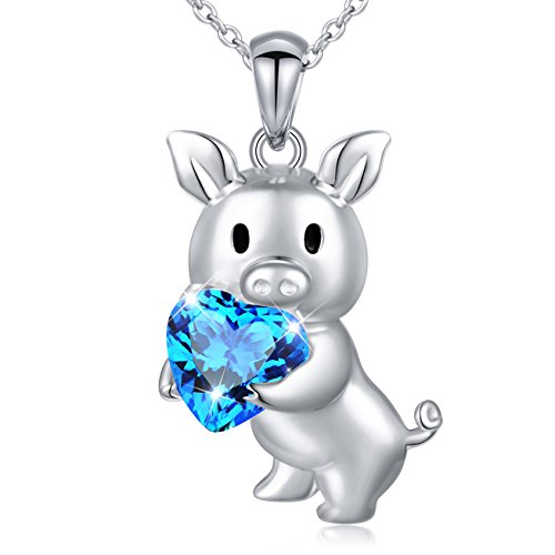 DAOCHONG 925 Sterling Silver Blue Cubic Zirconia Love Heart Cute Pig Pendant Necklace for Women Girls Graduation Gift, -