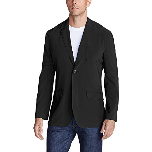 Eddie Bauer Men's Departure Tropical-Weight Packable Blazer, Black Tall 48 (Travel Sport Coat)