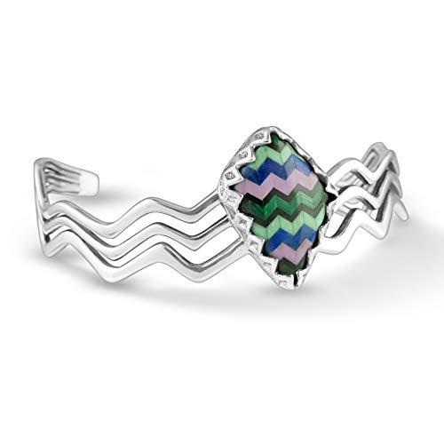 Carolyn Pollack Sterling Silver Multi Gemstone Inlay Wavy Cuff Bracelet Size Medium
