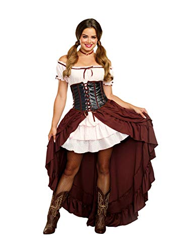 Western Saloon Halloween Costumes (Dreamgirl Women's Saloon Gal Authentic Wild West Costume, Brown,)