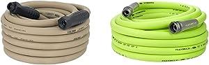 Flexzilla HFZC550BRS SwivelGrip Garden Hose, Brown Mulch & HFZG550YW Garden Lead-In Hose 5/8 In. x 50 ft, Heavy Duty, Lightweight, Drinking Water Safe