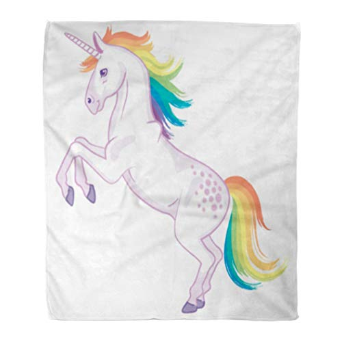(Emvency Flannel Throw Blanket Colorful Drawing Cartoon Unicorn Rainbow Mane and Tail Rearing Up on Its Hind Legs Girl 50x60 Inch Lightweight Cozy Plush Fluffy Warm Fuzzy Soft)