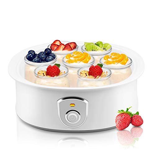 Greek Jar - Automatic Yogurt Maker Machine 7 Glass Greek Jars Customize To Your Flavor And Thickness Electric Maker 1.5L (White)