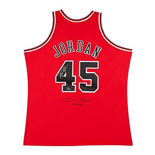 Michael Jordan Signed 1995 Mitchell & Ness Bulls Red Jersey