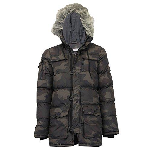 Inverno Cappuccio Imbottitura Bubble Con Camouflage Cappotto Camosoldier Soul Brave Parka Uomo Militare Camouglafe Pelliccia PxCzCqw1
