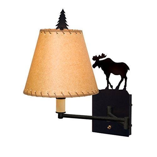 - Steel Partners Lighting 2955-Sgl-MB-OK Swing Arm - Single - Moose with Mountain Brown Finish & Oiled Kraft Leather Whipped Shade Lens