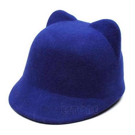 fb37c66b Amazon.com: NPLE--New Winter Fashion Women Devil Hat Cute Kitty Cat Ears  Wool Derby Bowler Cap Hot (Blue): Home Improvement