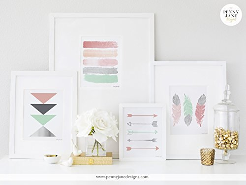 Penny Jane Designs 4 for the price of 3 Arrow Feather Geometric Paint Strokes Design, Silver Pink Mint, Home Nursery Office Decor