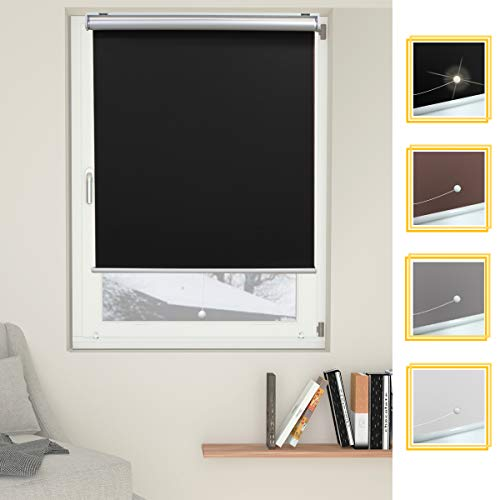 Allesin Cordless Roller Shades Blinds Spring Blackout Thermal Black 23 x 72 Inch Cordless Privacy Room Darkening Window Shade Blind Kit with Spring System for Windows