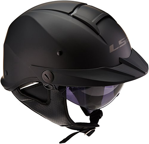 LS2 Helmets Rebellion Unisex-Adult Half Helmet Motorcycle Helmet (Matte Black, Small)