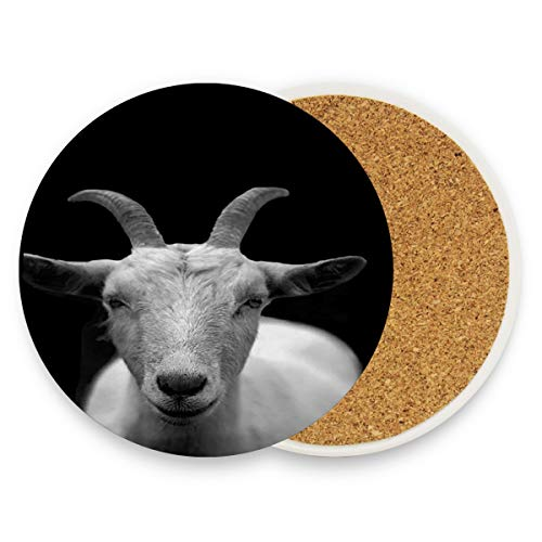 Goat Animal Horns Coasters, Prevent Furniture from Dirty and Scratched, Round Wood Coasters Set Suitable for Kinds of Mugs and Cups, Living Room Decorations Gift 1 piece