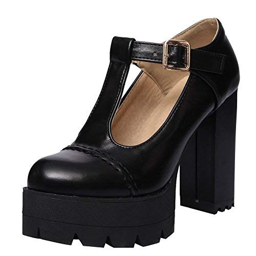 - Carolbar Women's T-Strap Retro Punk Lolita High Heel Platform Mary Janes Shoes (9.5, Black)