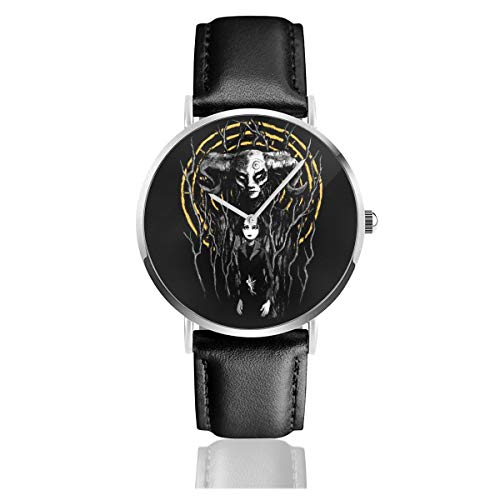 Unisex Business Casual Princess Reborn Pans Labyrinth Watches Quartz Leather Watch with Black Leather Band for Men Women Young Collection Gift