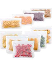 10 Packs Reusable Food Storage Bags Silicone Sandwich Snack Bacon Bags Ziplock Lunch Bags, Leakproof Freezer Bag Eco Friendly Degradable Material Set for Liquid Fruit Food Travel Extra Thick for Organization