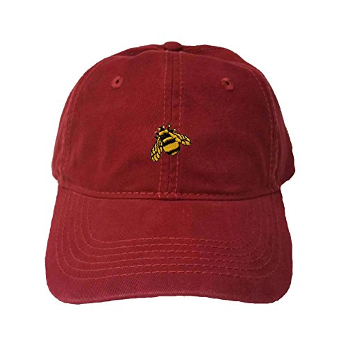 (Go All Out Adjustable Maroon Adult Bumble Bee Embroidered Dad Hat)