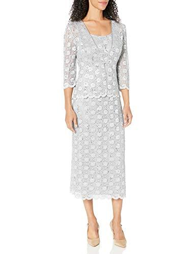 R&M Richards Women's 2 PCE Lace Swing Jacket Dress, Silver, 10