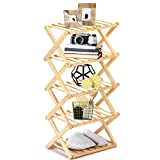 MaidMAX 5 Tier Shoe Rack, Wood Shelving Unit, Standing Tower Shelf, Stoage Rack for Closet Living Room, Bathroom, Foldable, Natural Oak Color, 15.7x10.2x31.5 Inches