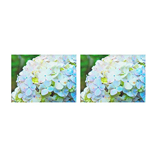 WAWSN Placemats Blue and Pink Flowers of Hydrangea Table Mats Set of 2 Non-Slip Washable Coffee Mats Heat Resistant Kitchen Tablemats for Dining Table Indoor Outdoor14'' X 19''(35x48cm)