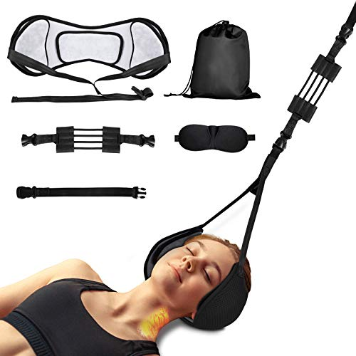 Neck Head Hammock Portable, Cervical Traction Device Neck Pain Relief, Neck Stretcher Equipped Support Corrector Cradle with Adjustable Straps & Durable Elastic Cords