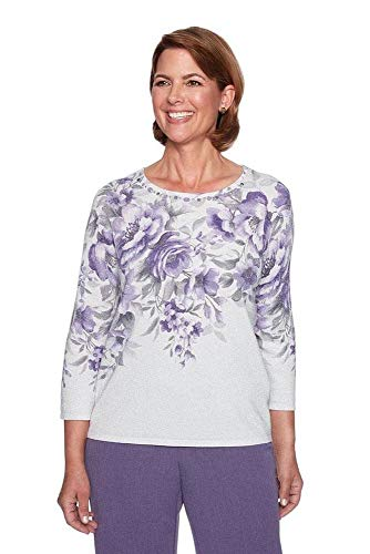 Alfred Dunner Women's Petite Floral Shimmer Sweater, Multi, PM