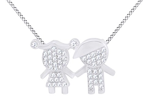 AFFY Son Daughter Two Kids Twins Family Pendant Necklace in 925 Sterling Silver