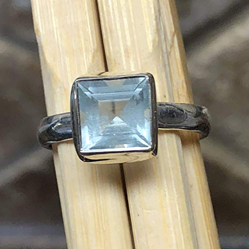 Natural 1ct Aquamarine 925 Solid Sterling Silver Princess Cut Engagement Ring sz 7.5