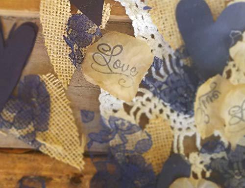 Burlap and Lace Silk Rose Petals Rustic Wedding Table Confetti