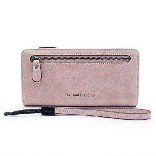 Women Zipper Long Clutch Wallet Leather Lady Purse Holder Case with Wristlet Strap(Pink)-Westyco