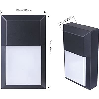 LIT-PaTH Outdoor LED Wall Lantern, Wall Pack Wall Sconce as Porch Light, 12W 1000 Lumens, Aluminum Housing Plus PC, ETL and ES Qualified, 2-Pack (3000K-Black Finish)
