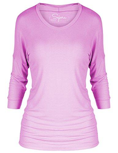 Sejora 3/4 Long Sleeve Dolman Tunic Top Batwing Shirt – Many Colors & Sizes (Large, (Long Sleeve Boatneck Tunic)