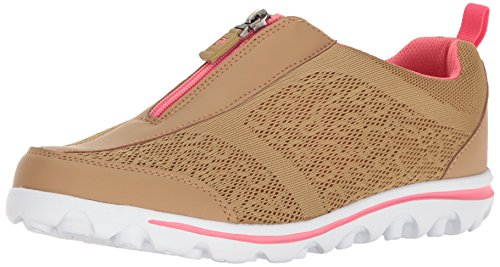 Propet Women's Travelactiv Zip Walking Shoe Honey/Coral