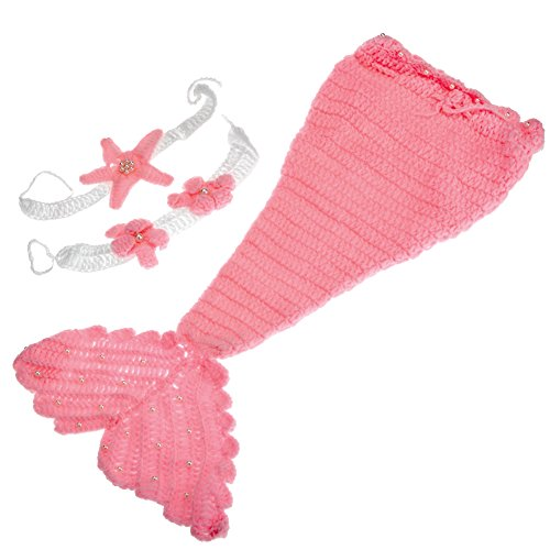 Ayliss Cute and Lovely Newborn Baby Handmade Crochet Knitted Mermaid Costume Set Headband Bra Tail 0-6 -
