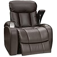 Seatcraft Sausalito Leather Gel Manual Home Theater Recliner with In-Arm Storage, Brown