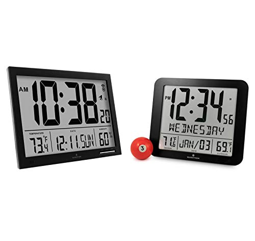 Marathon CL030062BK Slim-Jumbo Atomic Digital Wall Clock and
