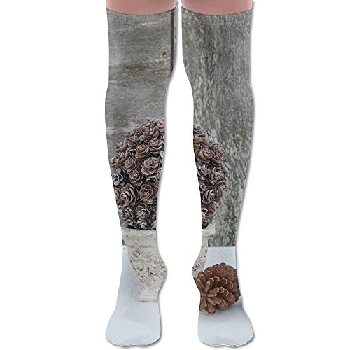 Pinecone Topiary Polyester Cotton Over Knee Leg High Socks Humor Unisex Thigh Stockings Cosplay Boot Long Tube Socks For Sports Gym Yoga Hiking Cycling Running Travel