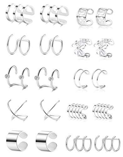 Tornito 410 Pairs Stainless Steel Ear Cuff Helix Cartilage Clip On Wrap Earrings Fake Nose Ring NonPiercing Adjustable A0:10 Pairs Silver