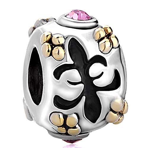 Pugster Pink Swarovski Element Crystal Fleur De Lis European Flower Bead Fits Pandora Charms - De Lis Pugster Fleur